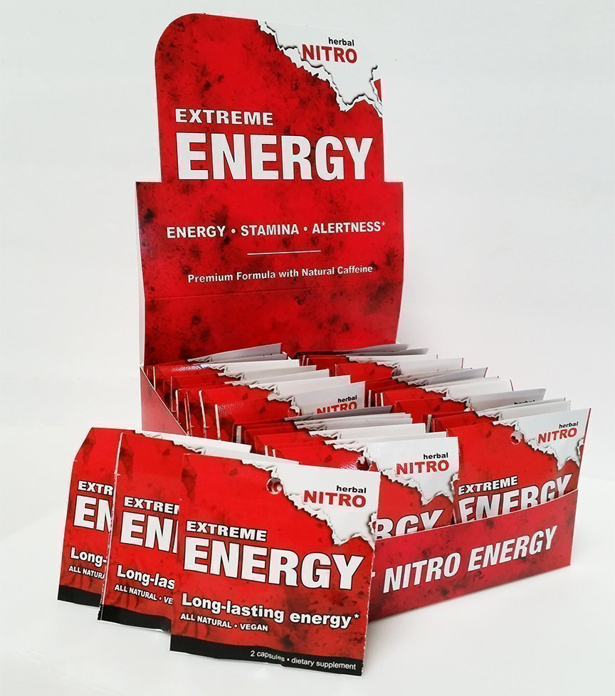 Extreme Energy packets sold in 50 count boxes