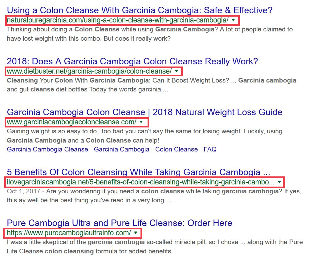 Example of websites touting relation of garcinia to colon cleanse