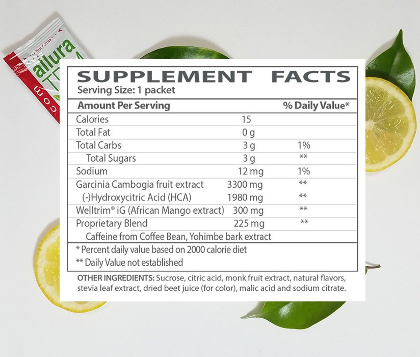 The supplement facts for Allura Trim Fitness Sticks.