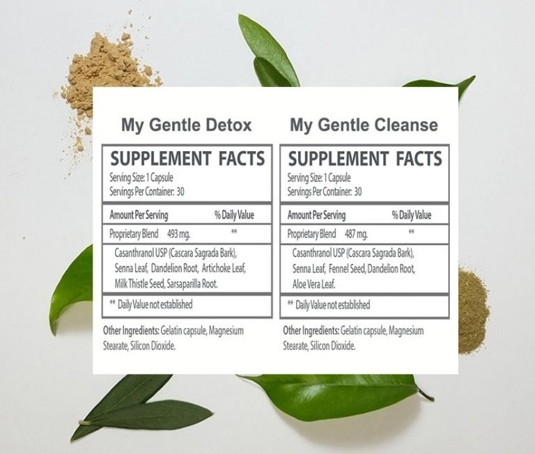 The supplement facts for My Gentle Detox and My Gentle Cleanse.