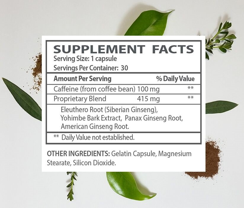 The supplement facts for Fuel for the Body.