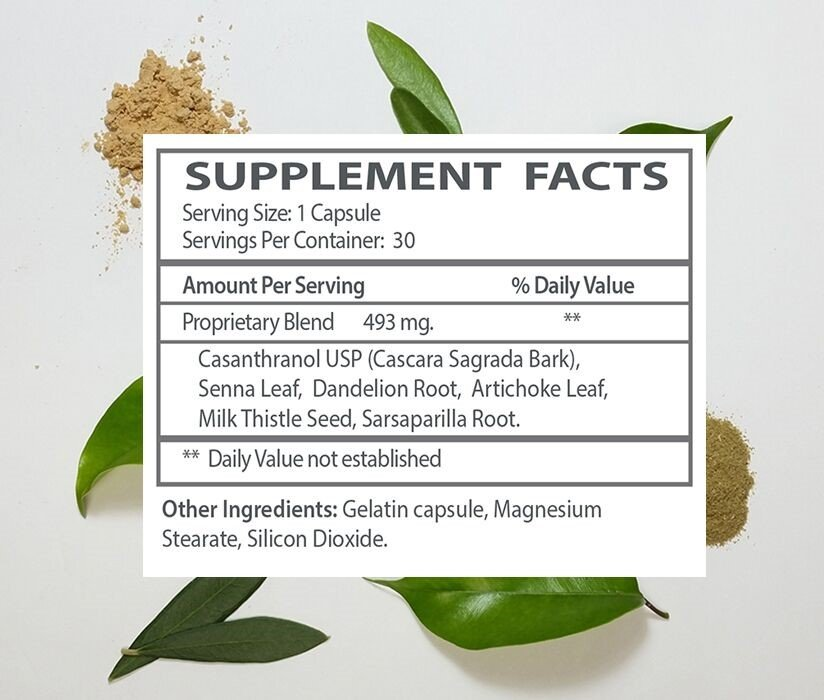 The supplement facts for My Gentle Detox.