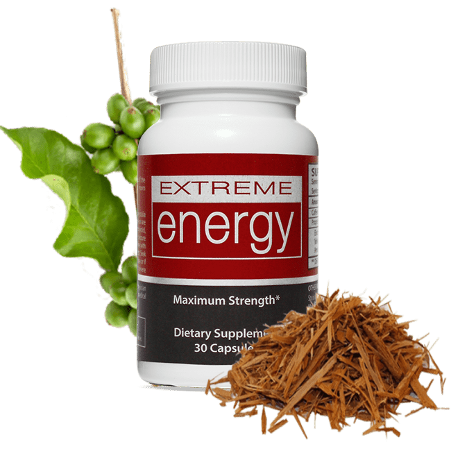 Extreme Energy features 2 prominent ingredients: Yohimbe Bark and Coffee Bean.